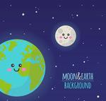 笑脸地球和月亮