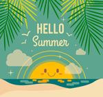 你好夏季沙滩海报