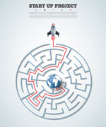 迷宫信息图矢量