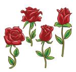 彩绘红玫瑰花枝