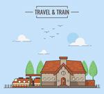 扁平化车站和火车