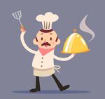端菜肴的厨师