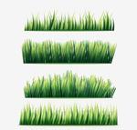 水彩绘草丛矢量