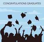 毕业欢呼人群剪影