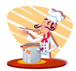 检查菜肴的男厨师