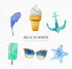 彩绘蓝色夏季元素