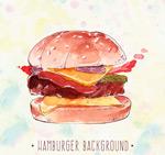 水彩绘汉堡包