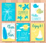 蓝色夏季卡片