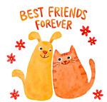 彩绘猫和狗朋友