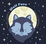 卡通月夜下的狼