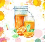 橙子橙汁和杯具