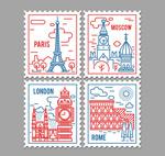 彩绘著名景点邮票