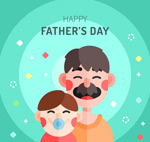 扁平化笑脸父子