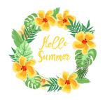 你好夏季橙色花环