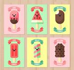 夏季笑脸雪糕卡片