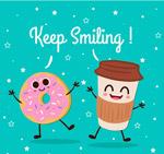 卡通咖啡和甜甜圈