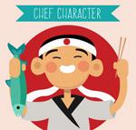 日本男厨师矢量