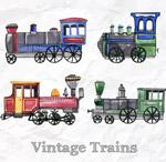 彩绘老式火车