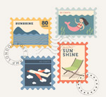 复古夏季邮票