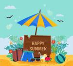 夏季沙滩插画