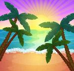 沙滩椰林大海风景