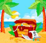 岛屿沙滩上的宝箱