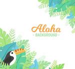 棕榈树叶和大嘴鸟