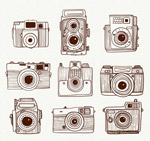 手绘照相机矢量