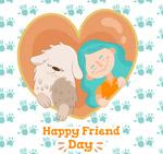 彩绘友谊日矢量