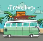 海边度假巴士矢量