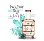 旅行箱和棕榈树叶