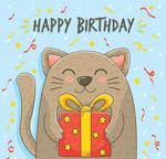抱生日礼盒的猫咪