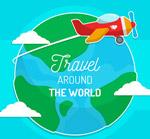 地球和飞机贴纸