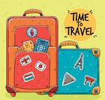 彩绘旅行行李箱