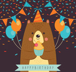 卡通过生日的熊