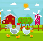 卡通养鸡场鸡家族