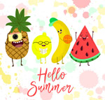 彩绘夏季表情水果