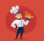端烤鸡的男厨师