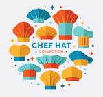 彩色厨师帽矢量