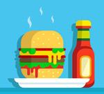 汉堡包和番茄酱