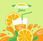 新鲜橙汁和橙子