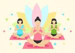 女子瑜伽类矢量