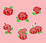 红色玫瑰花贴纸