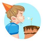吹蛋糕蜡烛男孩