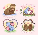 卡通情侣动物