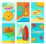 卡通夏季度假卡片