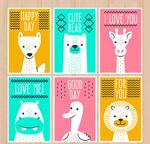 白色动物卡片