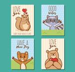 可爱动物爱心卡片