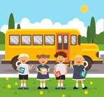 校车和返校学生