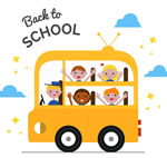 校车上的返校学生